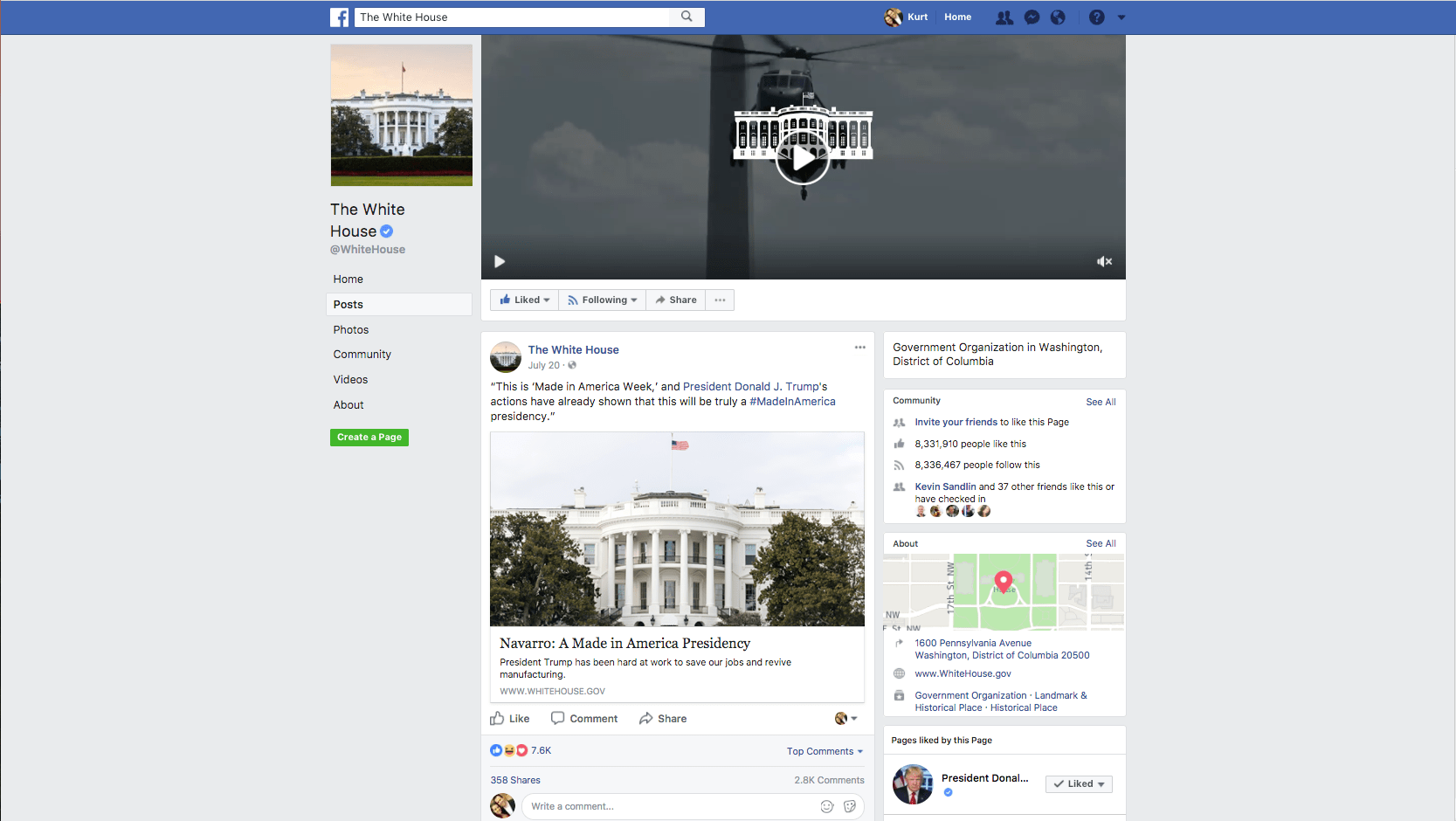 White House Facebook post Made in America Week - Navarro article 9b