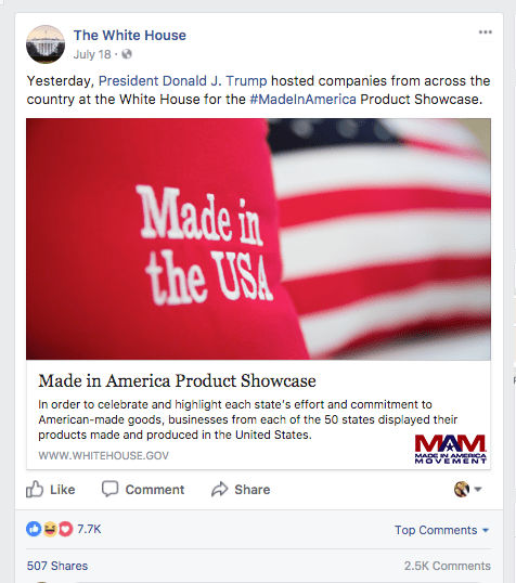 White House Tweet about Made in America Week 11b