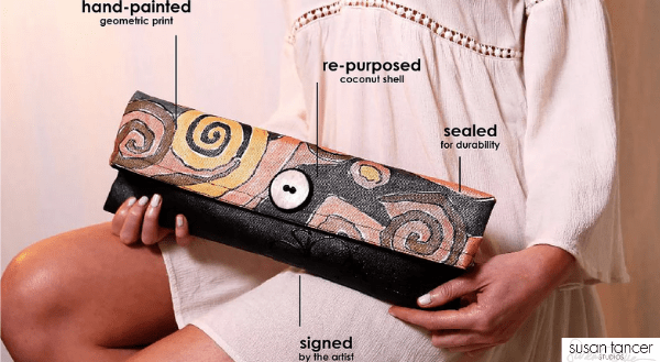 Susan Tancer Studios, Susan Tancer Handpainted clutches, Made in usa clutch, made in america clutch, american made clutch, made in usa tote, american made tote, made in america tote