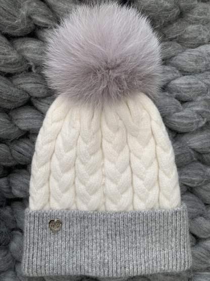 Cable angora bobble hat
