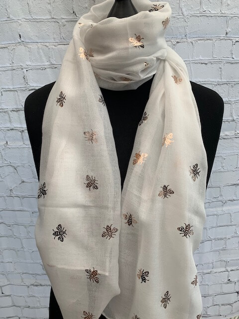Foil Print Scarves Bee Ivory Rose