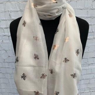 Foil Print Scarves Bee Ivory Rose