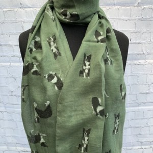 Animal Print Scarf Border green