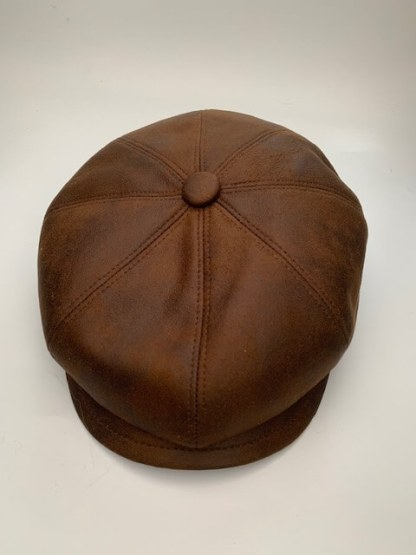 Tan Faux Leather Newsboy Cap