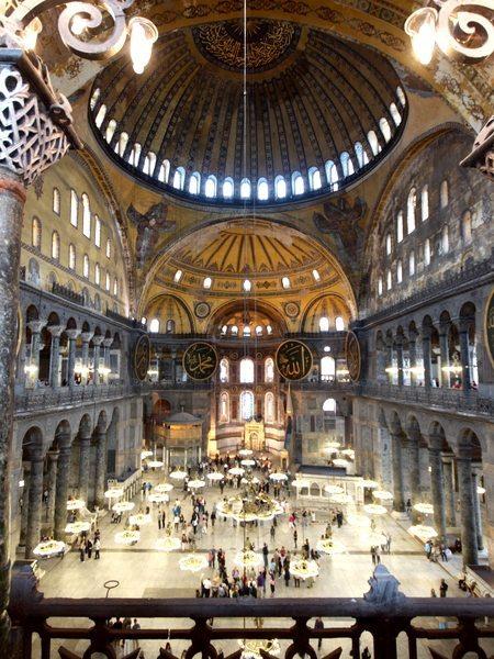 Inside Aya Sofya (Hagia Sophia) in Istanbul