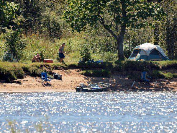 Camping on sandbar in Wisconsin River