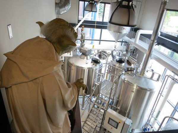 Yoda uses the Force to guide brewing operations  at Canal Park Brewing