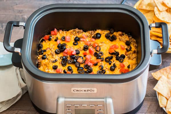 Slow Cooker Beef and Rice Enchilada Dip