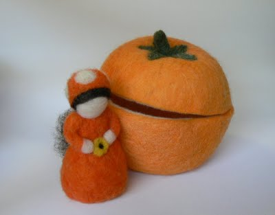 Needle Felted Halloween Gnome in her own Pumpkin