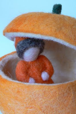 Needle Felted Halloween Gnome in his own Pumpkin