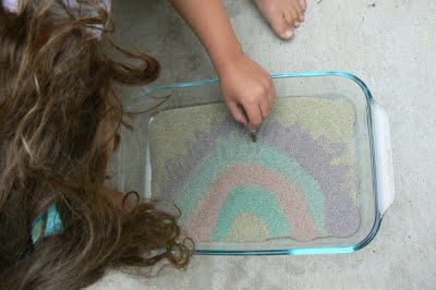 Our rainbow painted sand