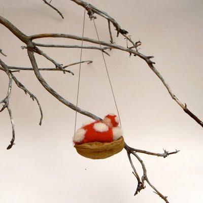 Handmade walnut baby Christmas decoration