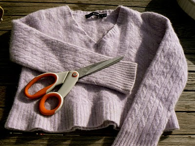 a felted cashmere sweater