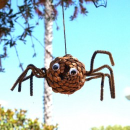Let's Make a Pine Cone Spider for Halloween