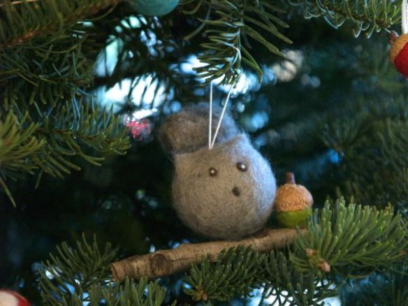 Needle Felted Squirrel Ornament : www.theMagicOnions.com