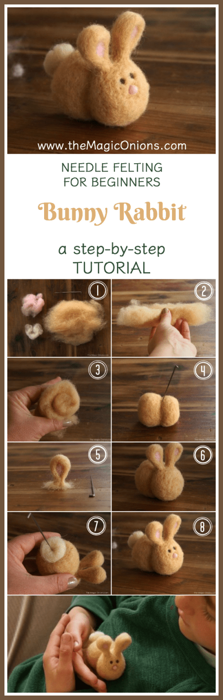Learn how to NEEDLE FELT. Follow this easy, step-by-step TUTORIAL to make the custest BUNNY RABBIT. Click through to the site for a ready-made KIT with all the materials you'll need.