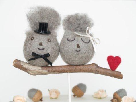 Needle Felted Squirrel Wedding Cake Toppers : Fairyfolk Weddings : www.fairyfolkweddings.etsy.com