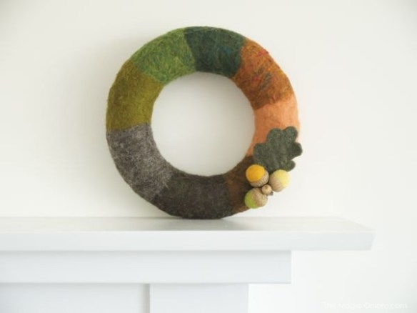 Wet Felted Autumn Wreath with Neelde Felted Acorns   : www.theMagicOnions.com