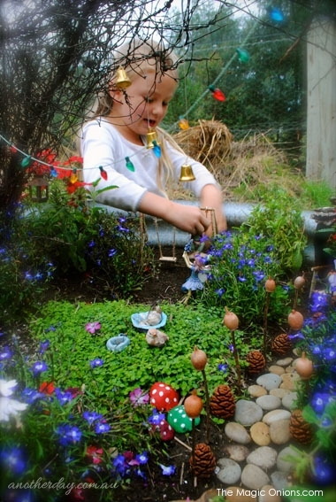 Second Prize Winner of the 2014 Fairy Garden Contest : Kid Friendly Fairy Garden :  The Magic Onions : www.theMagicOnions.com