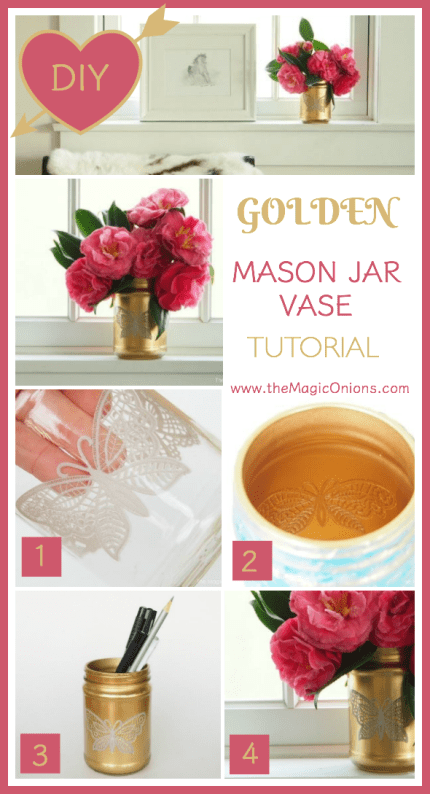We made this gourgeous flower vase by spraying a mason jar with gold spraypaint with a beautiful lace butterfly pattern. Follow the easy, step-by-step DIY Tutorial