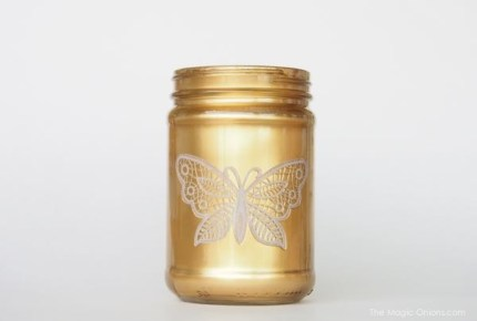 gold mason jar diy spray paint photo