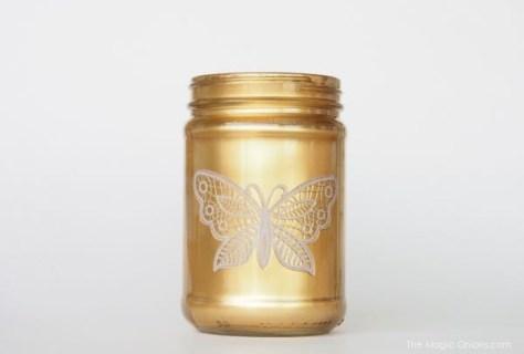 gold mason jar diy spray paint photo