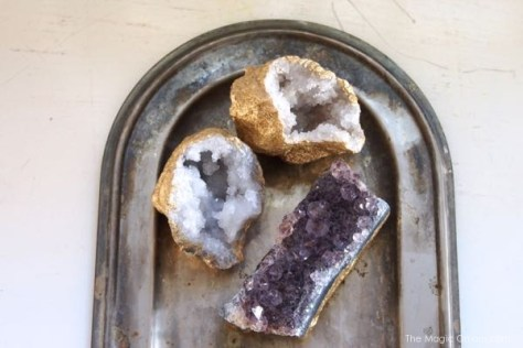 Gorgeous golden geodes and crystals photo made with gold spray paint