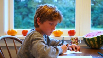 Photo of Teddy doing his homework : www.theMagicOnions.com