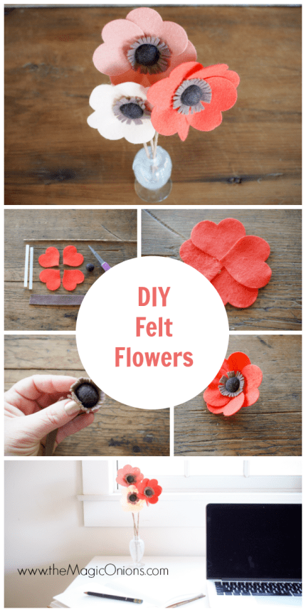 DIY Felt Flowers Tutorial :: www.theMagicOnions.com