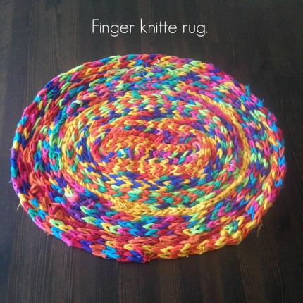 Gorgeous FINGER KNITTED rug made by the 9 year olds at Maple Village Waldorf School on The Magic Onios Blog