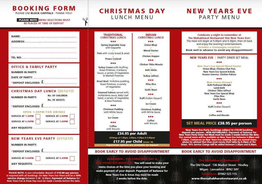 Christmas Menu Back