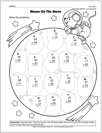 Math Worksheets The Moon. Math. Best Free Printable Worksheets