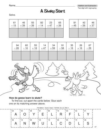 Addition And Subtraction With Regrouping Lesson Plans