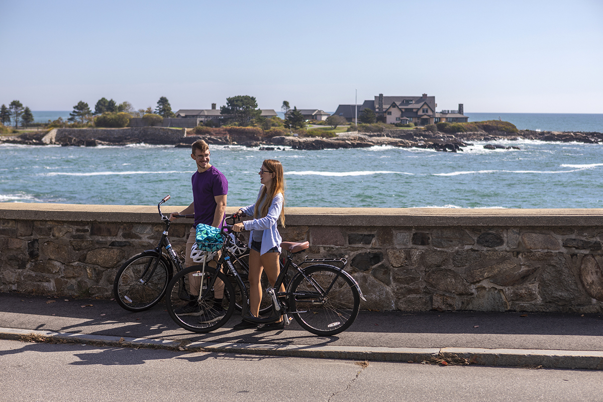 Biking along Ocean Ave in Kennebunkport. View of Walkers Point.