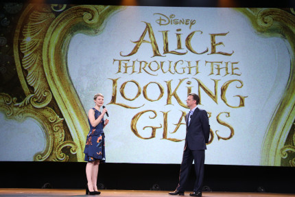 "ANAHEIM, CA - AUGUST 15: Actress Mia Wasikowska of ALICE THROUGH THE LOOKING GLASS (L) and President of Walt Disney Studios Motion Picture Production Sean Bailey took part today in ""Worlds, Galaxies, and Universes: Live Action at The Walt Disney Studios"" presentation at Disney's D23 EXPO 2015 in Anaheim, Calif. ALICE THROUGH THE LOOKING GLASS will be released in U.S. theaters on May 27, 2016. (Photo by Jesse Grant/Getty Images for Disney) *** Local Caption *** Mia Wasikowska; Sean Bailey"