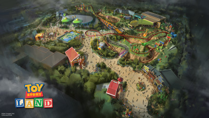 Toy Story Land at DisneyÕs Hollywood Studios in Florida -- The reimagining of DisneyÕs Hollywood Studios will take guests to infinity and beyond, allowing them to step into the worlds of their favorite films, starting with Toy Story Land. This new 11-acre land will transport guests into the adventurous outdoors of AndyÕs backyard. Guests will think they've been shrunk to the size of Woody and Buzz as they are surrounded by oversized toys that Andy has assembled using his vivid imagination. Using toys like building blocks, plastic buckets and shovels, and game board pieces, Andy has designed the perfect setting for this land, which will include two new attractions for any Disney park and one expanded favorite. (Disney Parks)