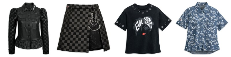 Her Universe collection inspired by Cruella: Cruella Faux Leather Jacket and matching edgy Faux Leather Skirt, Cruella Fashion T-Shirt with metal grommets, and Woven Shirt with graffiti print