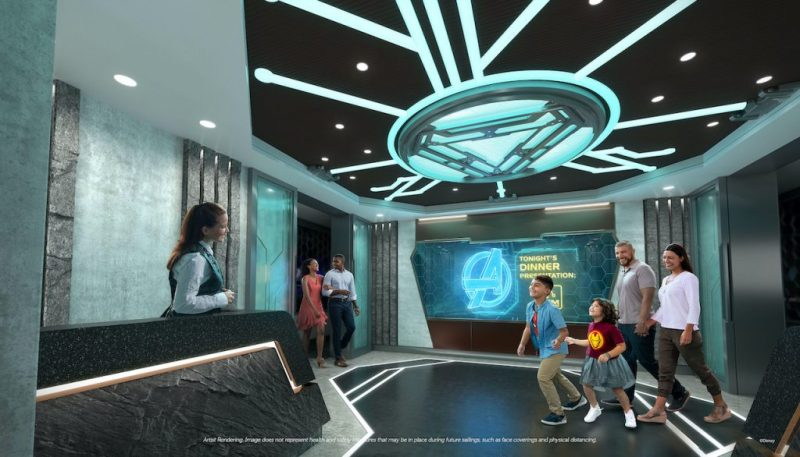 Rendering of Worlds of Marvel, the first-ever Marvel cinematic dining adventure, coming to the Disney Wish