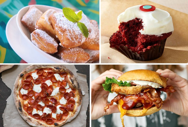 Beignets, Red Velvet Cupcake, Pizza, The Texan Burger