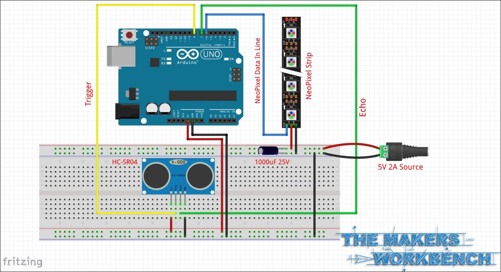 medium resolution of schematic for wiring up an hc sr04 and neopixels to an arduino