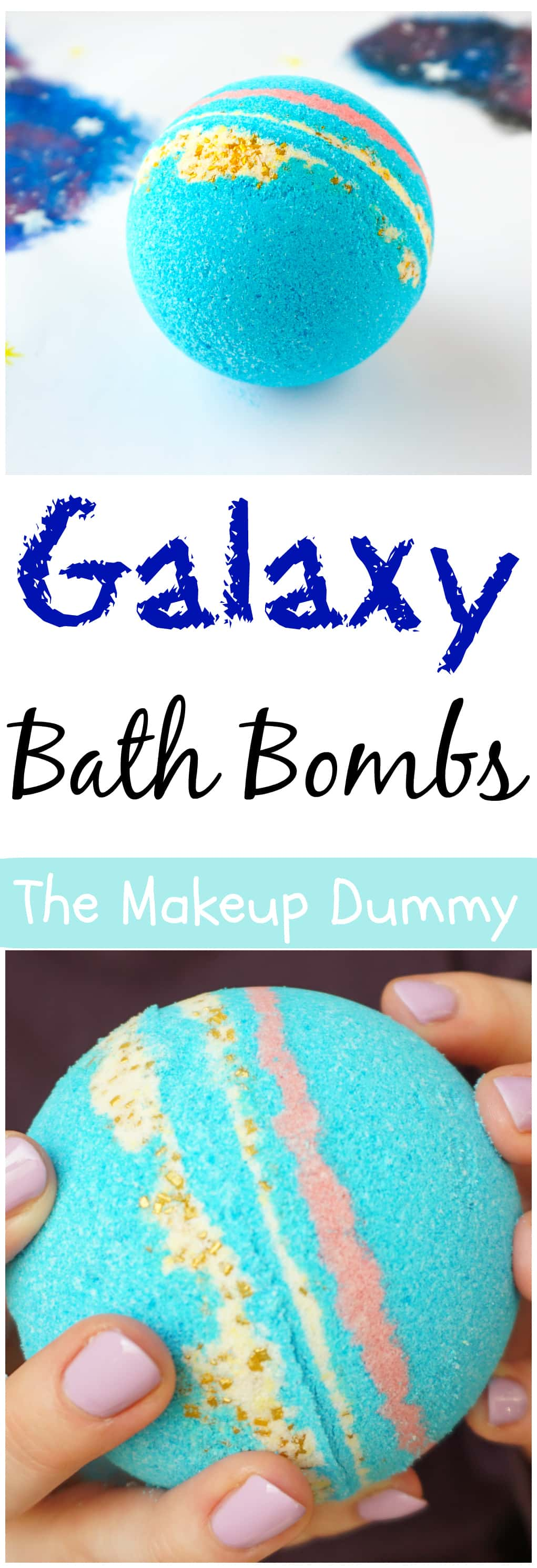 How To make Intergalactic Galaxy Bath Bomb Fizzies inspired by LUSH - it's easy, cheap and fun to make yourself! Tutorial by The Makeup Dummy #diybeauty #diybath bombs #naturalbeauty #diygifts