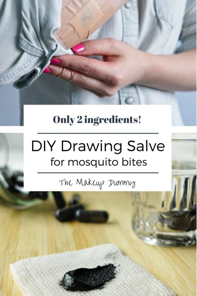 This really works! And you only need 2 ingredients! How To make your own DIY Bug Bite black drawing salve for mosquito bites and other bug bites. Tutorial by The Makeup Dummy