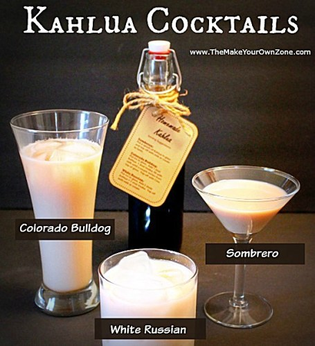 How to make homemade Kahlua and use it in three tasty Kahlua cocktails - the Sombrero, the Colorado Bulldog, and the White Russian