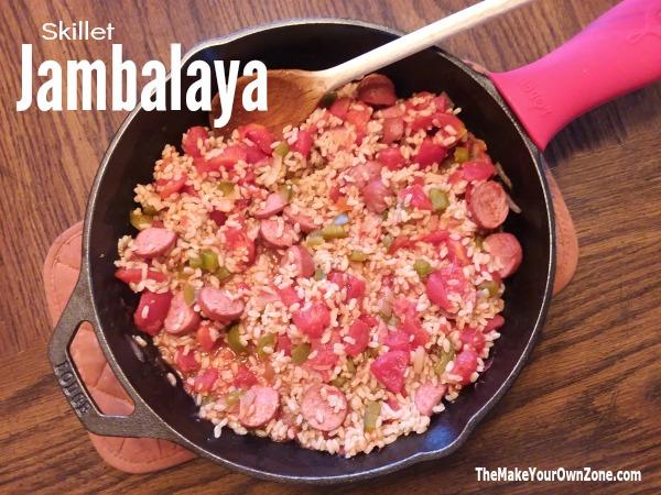 Skillet Jambalaya with homemade cajun seasoning