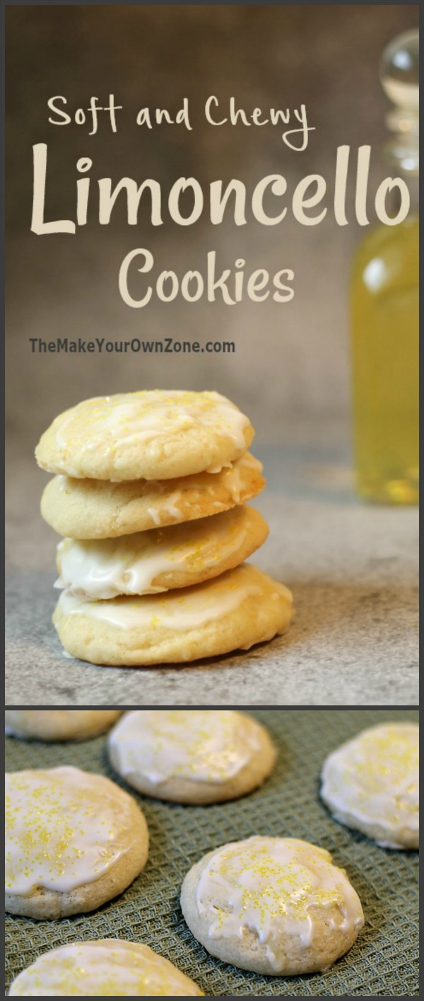 Recipe for Limoncello Cookies - soft and chewy cookies with just a touch of limoncello for delicious lemon flavor