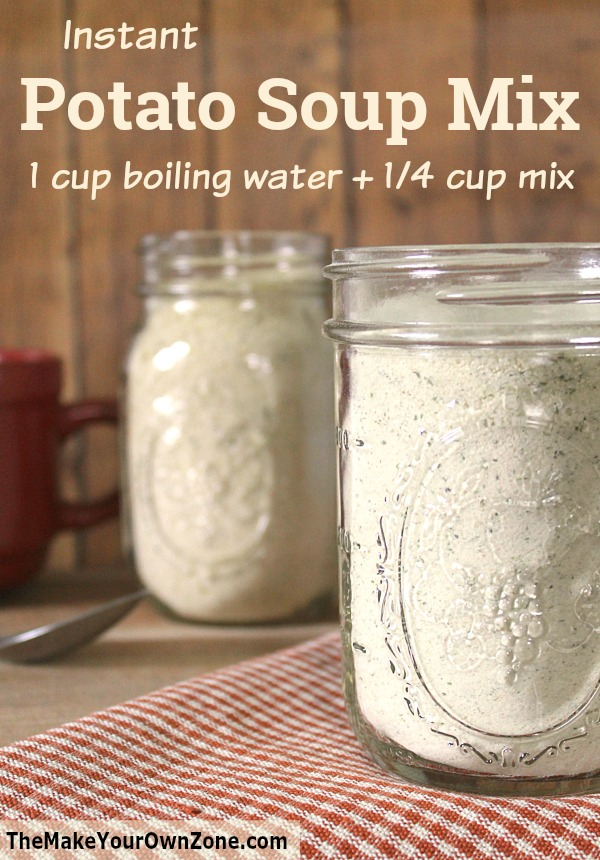 How to make a homemade instant potato soup jar mix. This simple recipe can be made in a vegan option too!