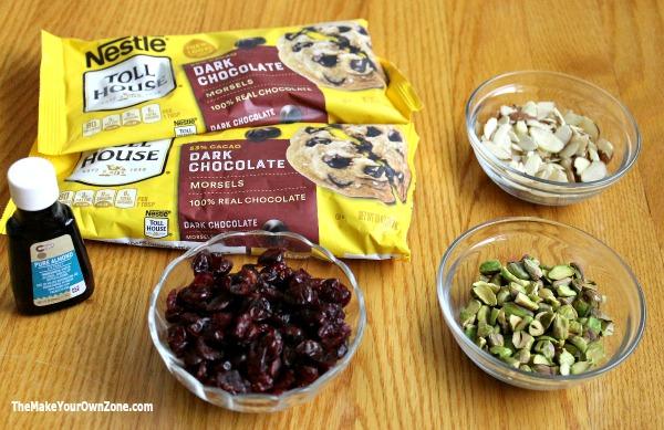 Ingredients to make dark chocolate bark