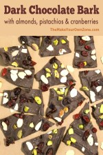 Dark Chocolate Bark recipe made with almonds, pistachios, and cranberries