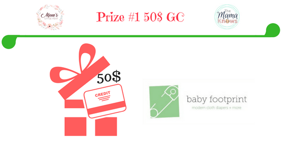 prize #1 a $50 gift card from The Baby Footprint