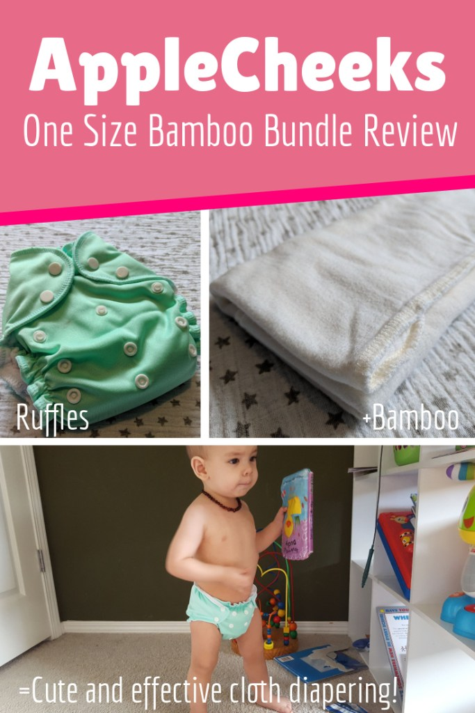 AppleCheeks one size cover with 2ply Bamboo insert is a great daytime cloth diapering solution. Read more in my detailed review!